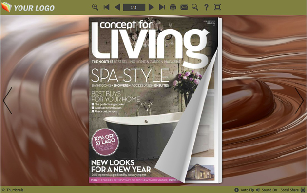 Windows 7 Flipping Book Themes in Chocolate Style 1.0 full