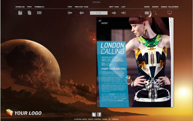 Windows 7 Flip Books Themes in Dazzling Planet Style 1.0 full